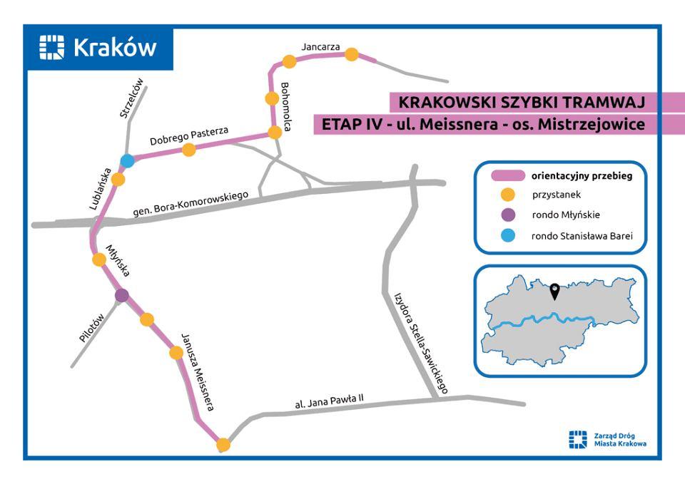 Przebieg linii tramwajowej do Mistrzejowic
