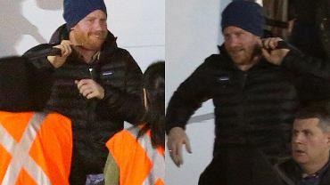 Książę Harry jest już w Kanadzie z Meghan i Archiem. Paparazzi przyłapali go na lotnisku. Nie był tam sam