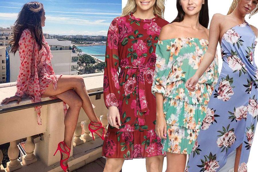Kolaż, sukienka w kwiaty/Materiały partnera