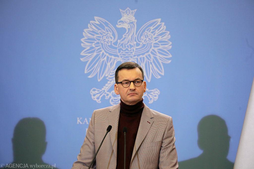 02.02.2020 Warszawa . Kancelaria Prezesa Rady Ministrów . Premier Mateusz Morawiecki podczas konferencji prasowej.