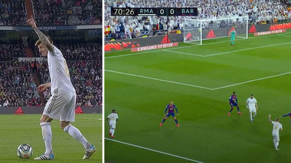 Toni Kroos pokazujący Viniciusowi, że za chwilę dogra mu idealne podanie, które potem da Realowi prowadzenie w El Clasico 1:0.