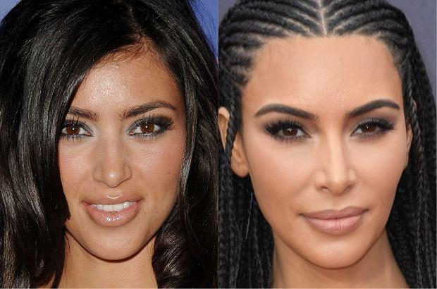 Kim Kardashian w 2008 i w 2018 r.