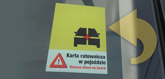 Karta ratownicza, naklejka informacyjna