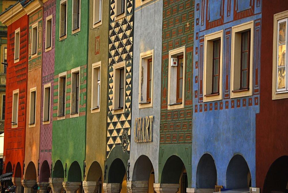 Kolorowe kamieniczki w Poznaniu