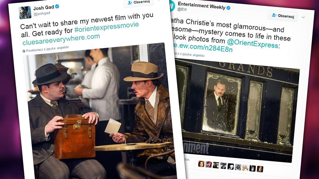 Tweety Josha Gada i EW, kadry z filmu 'Morderstwo w Orient Expressie'