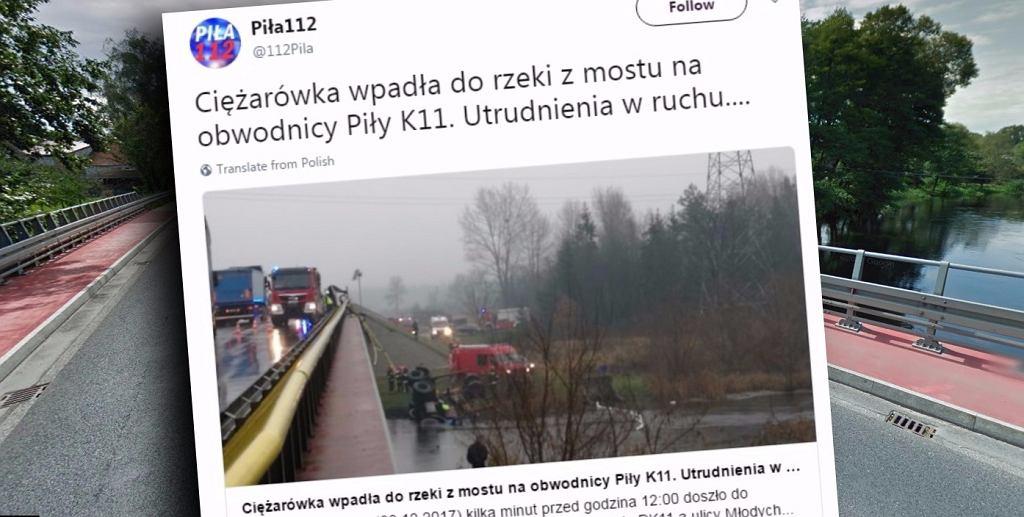 Ciężarówka wpadła do rzeki