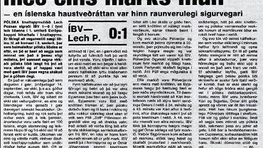 Prasa islandzka o meczu z 1982 roku