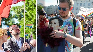 Paweł Adamowicz na III Marszu Równości w Gdańsku, wydrukowana Hanna Gronkiewicz-Waltz na Paradzie Równości w Warszawie