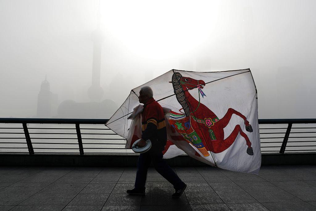 Dzielnica finansowa w Szanghaju, ukryta za smogiem