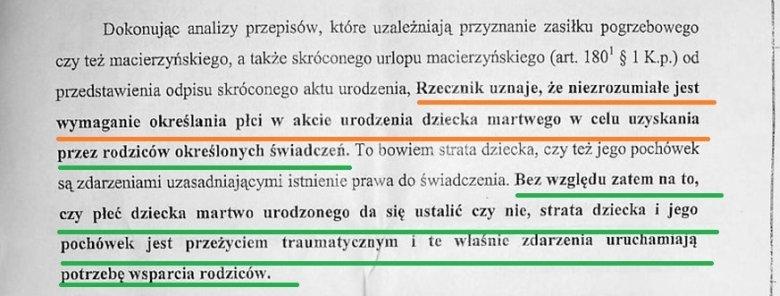 Fragment dokumentu wysłanego przez RPO do Ministerstwa Pracy