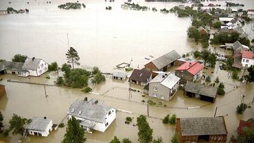 Racibórz podczas powodzi w 1997 roku.
