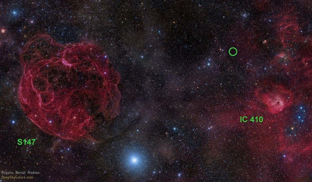 Zielone kółko oznacza miejsce pochodzenia FRB 121102 na zdjęciu z 2014 roku