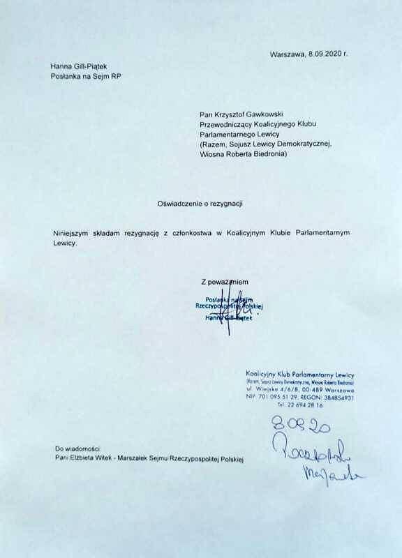Oświadczenie posłanki Hany Gill-Piątek o rezygnacji z członkostwa w klubie parlamentarnym Lewicy