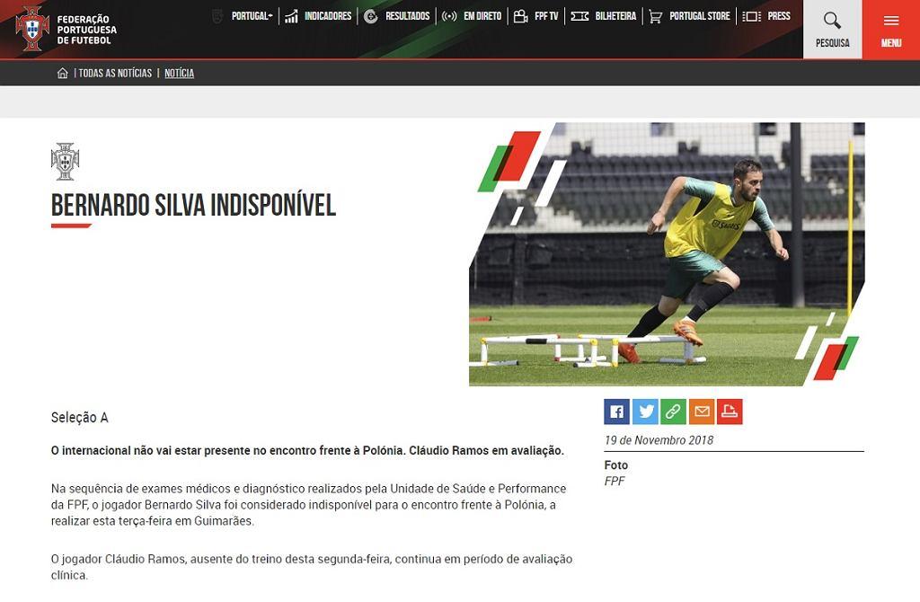 Bernardo Silva nie wystąpi w meczu z Polską