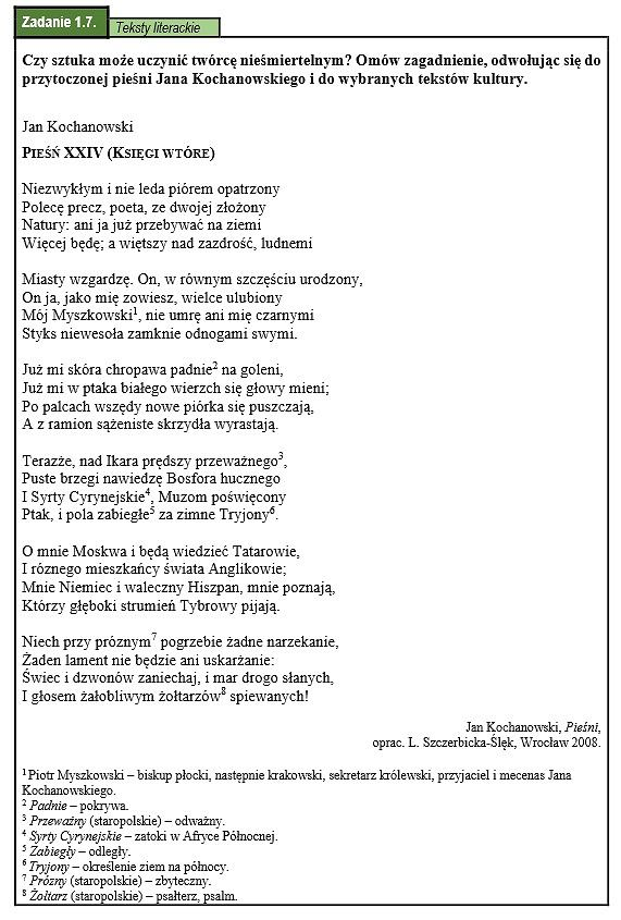 Matura Ustna 2015 Z Języka Polskiego Przykładowe Zadania I