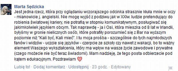 Wpis Marty Sędzickiej