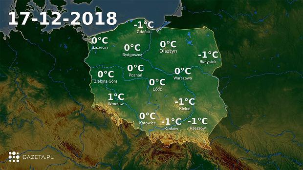 Mapa temperatury 17.12.2018