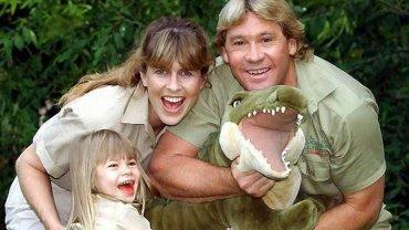 Steve Irwin z żoną Terri i córką Bindi