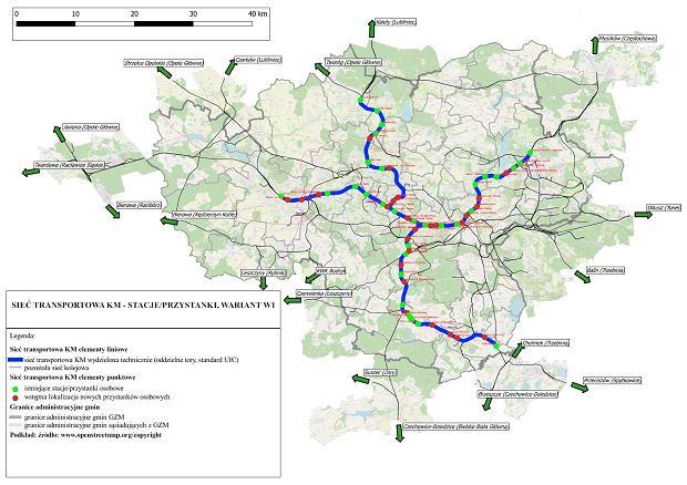 Wariant 1 Kolei Metropolitalnej na terenie Górnośląsko-Zagłębiowskiej Metropolii