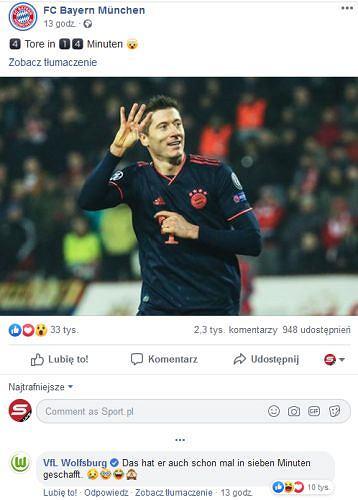 Wolfsburg zareagował na gole Lewandowskiego