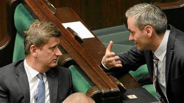 Janusz Palikot i Robert Biedroń podczas posiedzenia w Sejmie