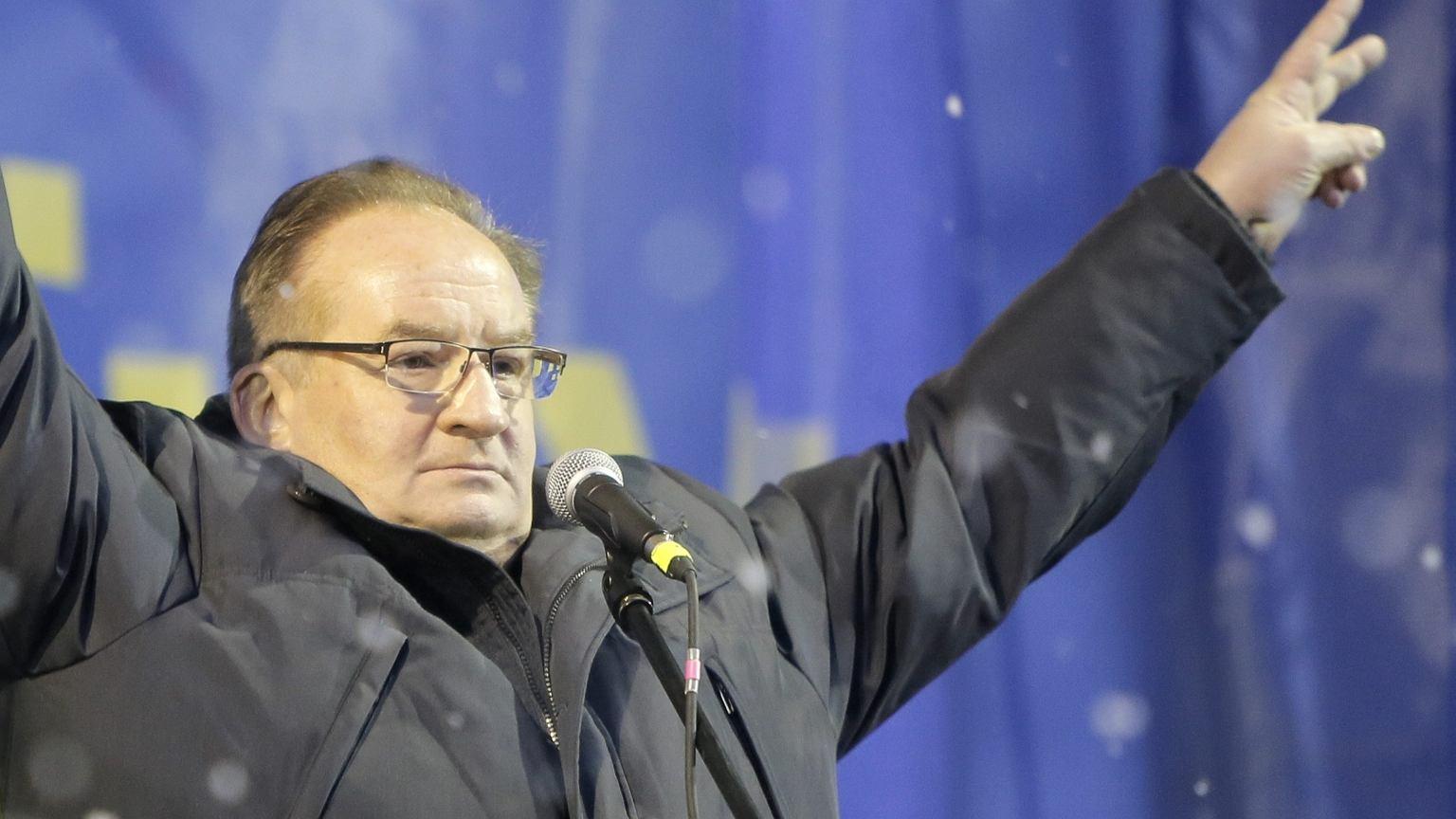 Jacek Saryusz-Wolski na Majdanie w 2014 r.