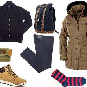 Sweter, spodnie - Navigare/navigare.com.pl, plecak - TkMaxx/tkmaxx.pl, kurtka - Wellensteyn/gt-group.pl, pasek - Napapijri/napapijri.com, buty- Caterpillar/catfootwear.pl, skarpety - wzór