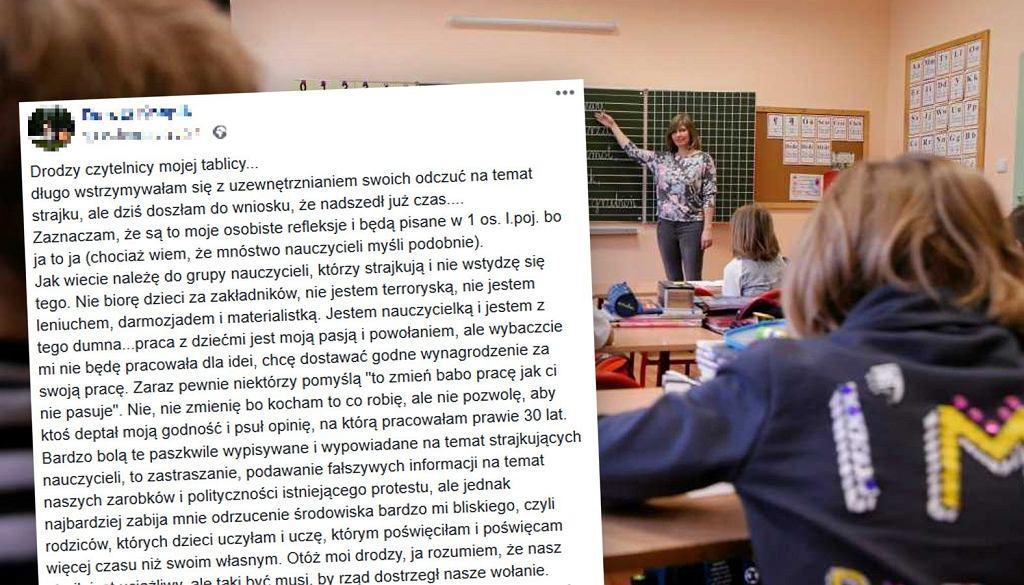 Strajkująca nauczycielka z Częstochowy opublikowała na Facebooku poruszający wpis. Ludzie zachwyceni