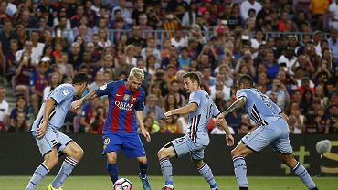 FC Barcelona - Sampdoria Genua 3:2. Leo Messi i Karol Linetty