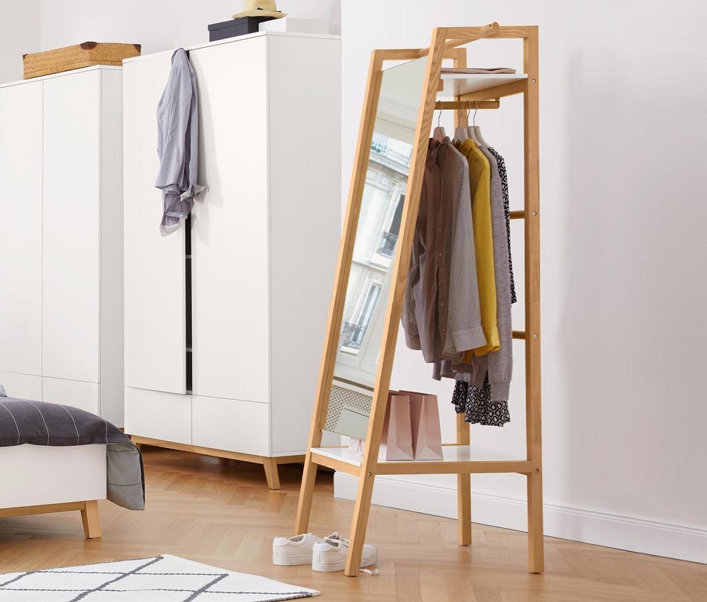 Wieszak na ubrania z lustrem