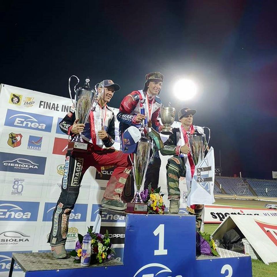 Medaliści IMP 2018. Od lewej: Maciej Janowski, Piotr Pawlicki i Janusz Kołodziej