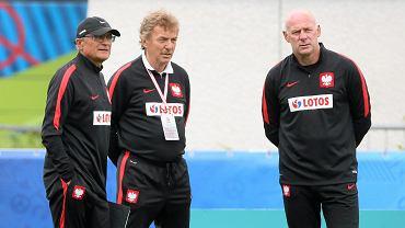Dariusz Pasieka (z prawej), Zbigniew Boniek i Adam Nawałka