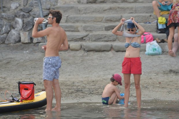 EXCLUSIVE: Audrey Tautou on holiday with new partner Yann Le Bourbouach in Portovenere (Italy)  Pictured: Audrey Tautou  with Yann Le Bourbouach