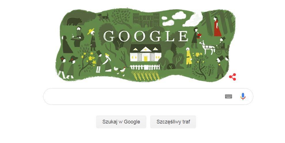 Google Doodle z okazji pierwszej publikacji 'Pana Tadeusza'
