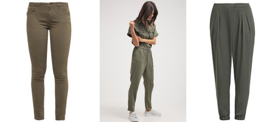 Oliwkowe spodnie i kombinezony