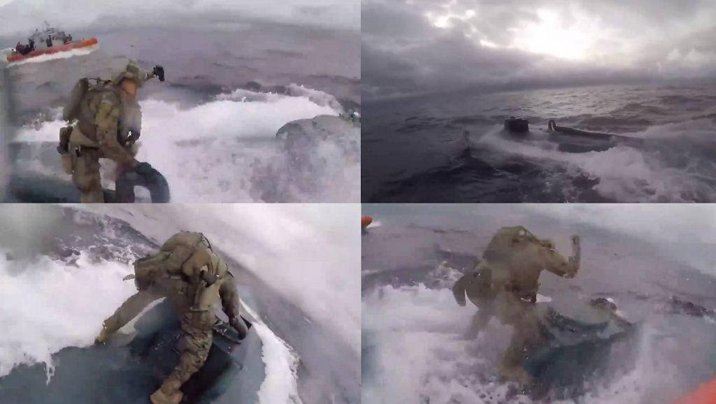 Nagranie z zatrzymania okrętu podwodnego, na którym znajdowało się siedem ton narkotyków.