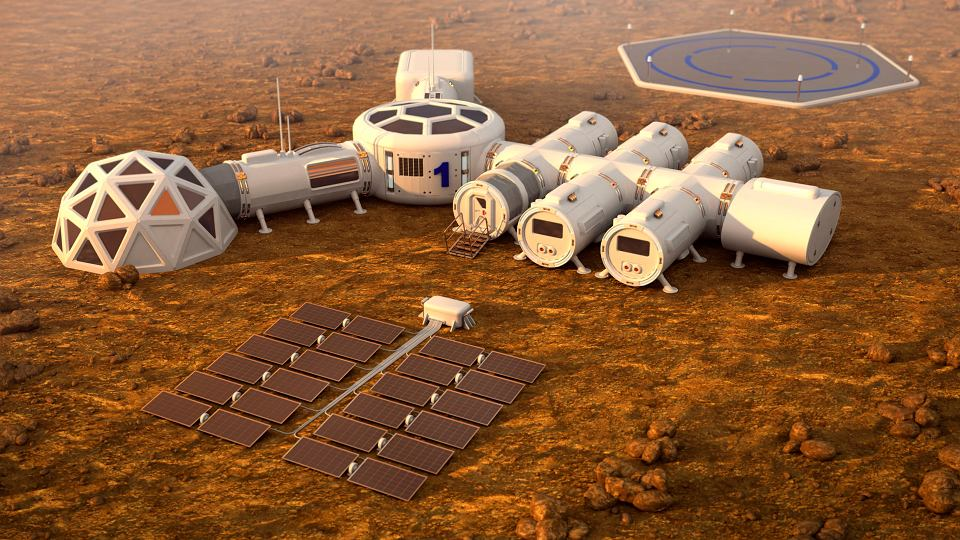 Wizualizacja ludzkiej bazy na Marsie