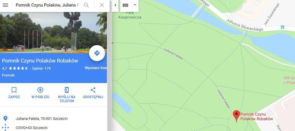 Google Maps Pokazuje Ze W Szczecinie Jest Pomnik Czynu Polakow