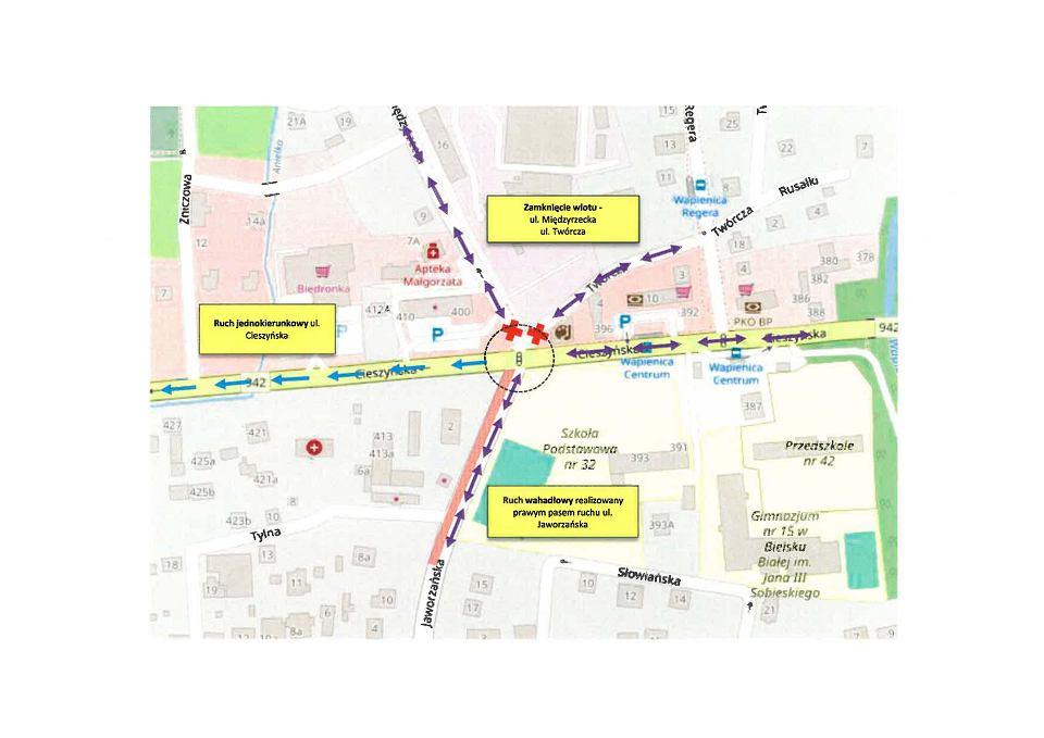 Miejski Zarząd Dróg w Bielsku-Białej poinformował, że w rejonie przebudowywanej ul. Cieszyńskiej znowu zmienia się tymczasowa organizacja ruchu