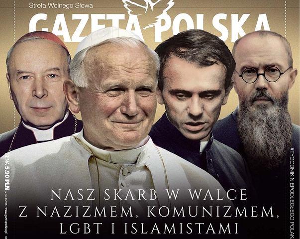 Okładka Gazety Polskiej nawiązująca do filmu 'Kler'
