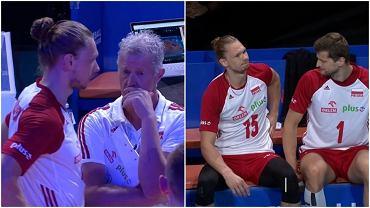 Jakub Kochanowski z Vitalem Heynenem (po lewej) i Piotrem Nowakowskim (po prawej) chwilę przed zmianą podczas meczu ze Słowenią