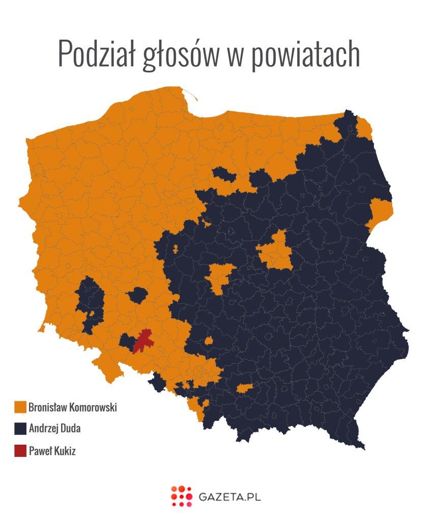 Podział głosów w powiatach