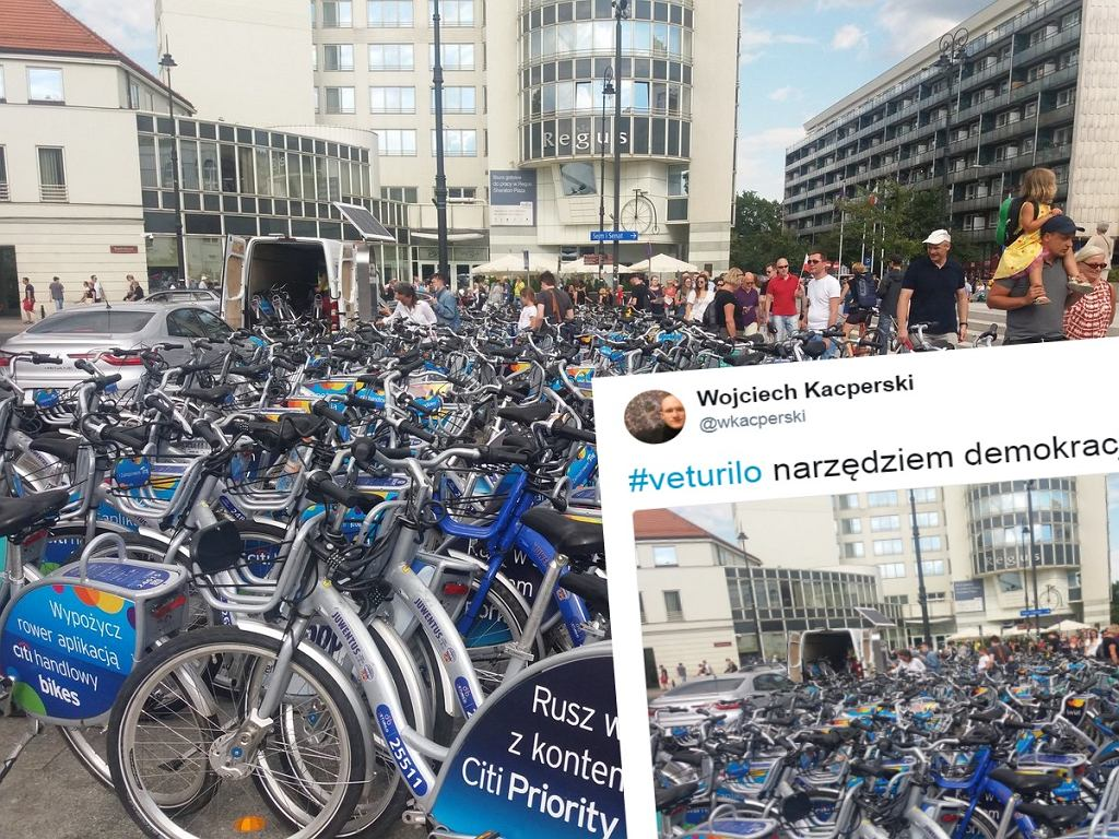 Dziesiątki rowerów na stacji