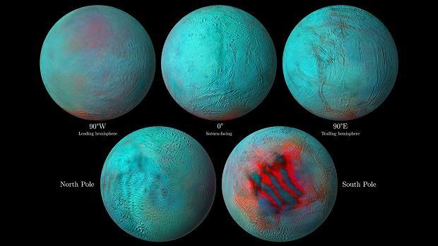 Enceladus - czerwone obszary wskazują na świeży lód, który osadził się na powierzchni
