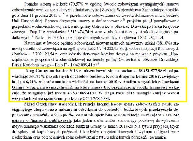 Fragment opinii Regionalnej Izby Obrachunkowej w Szczecinie o sprawozdaniu z wykonania budżetu Gminy Ostrowice