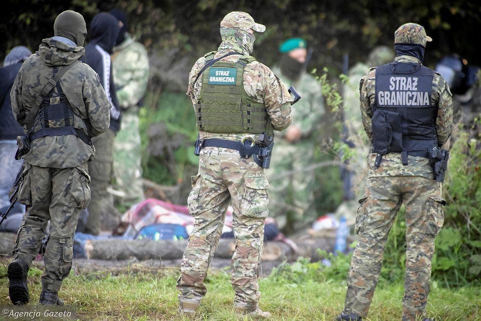 Migranci w okolicach Usnarza Górnego, pilnowani przez Straż Graniczną