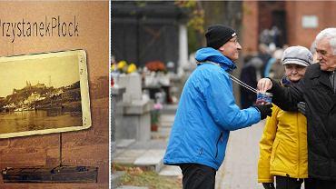 Z lewej: ksążka o kweście, uratowanych nagrobkach i wyjątkowych płocczanach. Z prawej: kwestuje dyrektor Płockiej Orkiestry Symfonicznej. Adam Mieczykowski