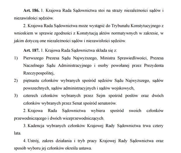 Fragment Konstytucji RP mówiący o KRS