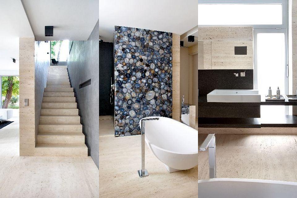 Ściany i podłogi wykończone trawertynem, dekoracyjna ściana w łazience została pokryta mozaiką z agatów