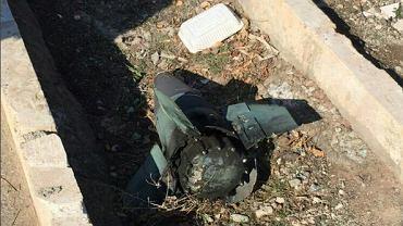 Domniemany fragment rosyjskiej rakiety 'Tor'